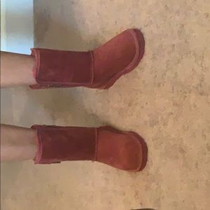 Lamo fake fur lined boots burgundy red